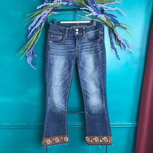 Up cycled cropped American Eagle jeans